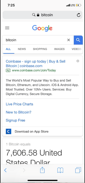 Coinbase Advt on Google