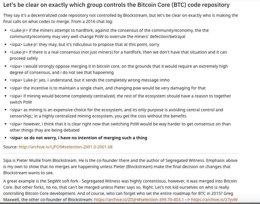Who controls the Bitcoin core code repository
