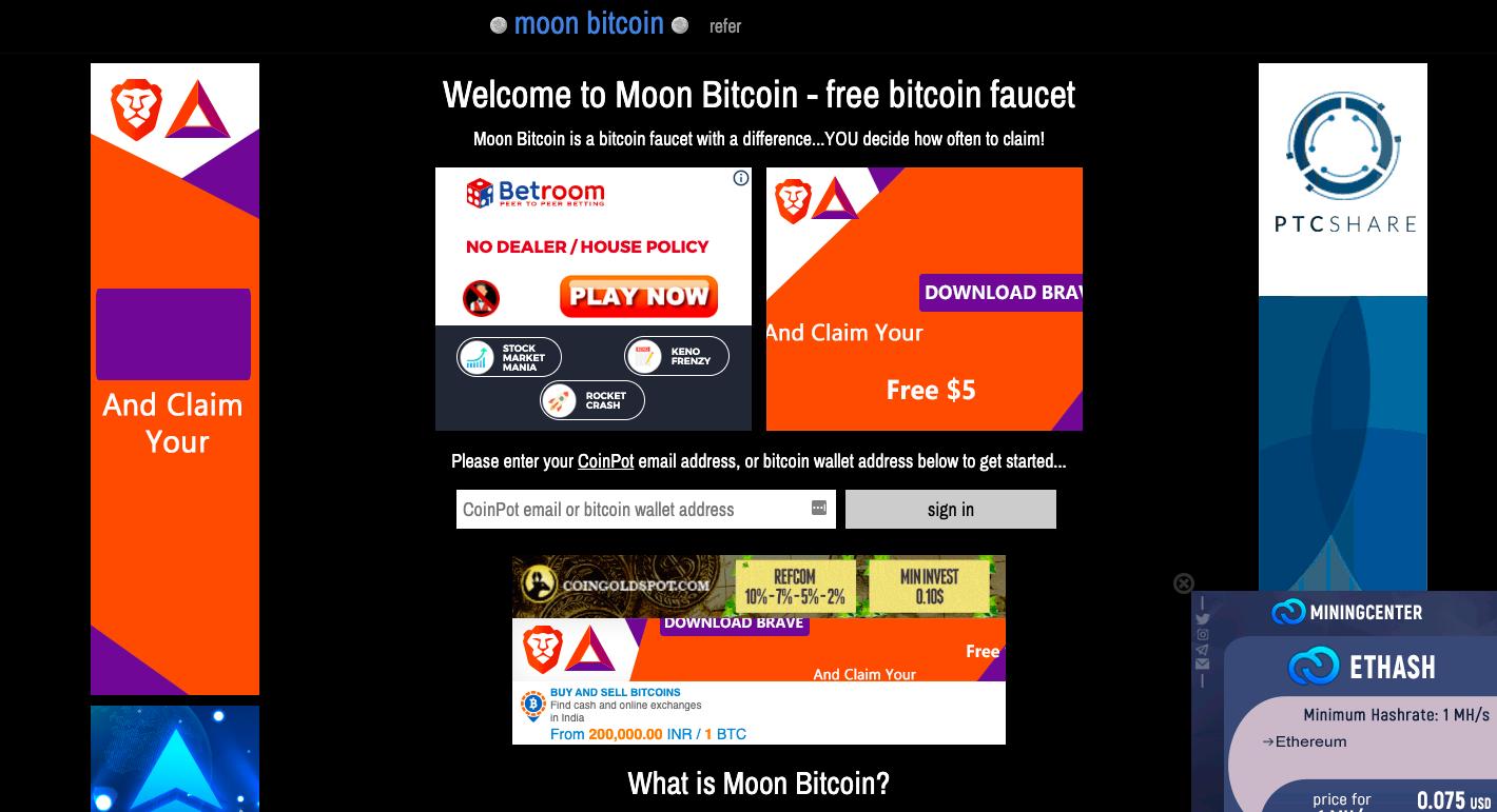 moon bitcoin free money with bitcoins price